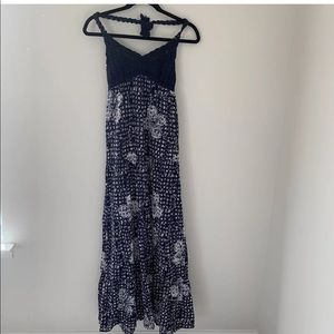 Lucky Brand Maxi Dress Size XS Blue Printed